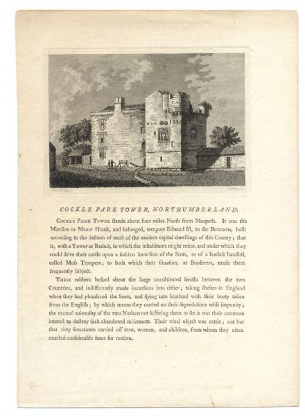 1775 NORTHUMBERLAND Cockle Park, Hebron nr Morpeth ANTIQUE Print from Engraving